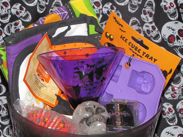 Buy cheap gift baskets - Halloween Kitchen Baking Skull Bat Gothic Gift Basket