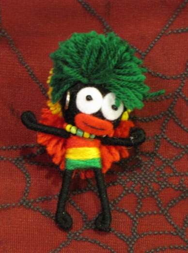 Rasta Big Hair with Beads Voodoo Keychain
