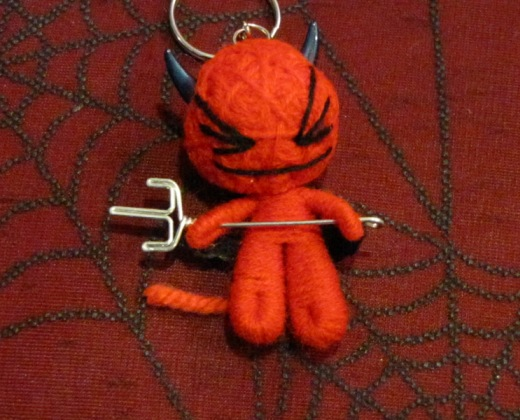 Red Devil With Black Horn Pitchfork Voodoo Keychain