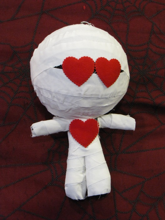 White Black & Red Hearts Mummy Large Voodoo Doll