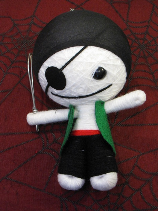 White & Black Pirate w Sword Large Voodoo Doll