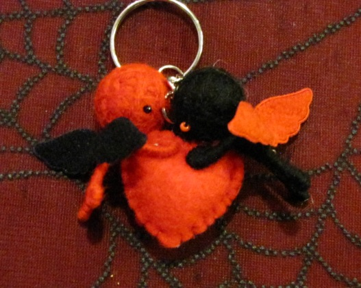 Red and Black Angels w Heart Voodoo Keychain