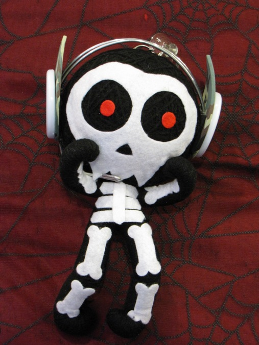 Black & White Skeleton w Headphones Large Voodoo Doll