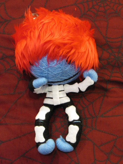 Blue Black & White Skelly w Red Hair Large Voodoo Doll