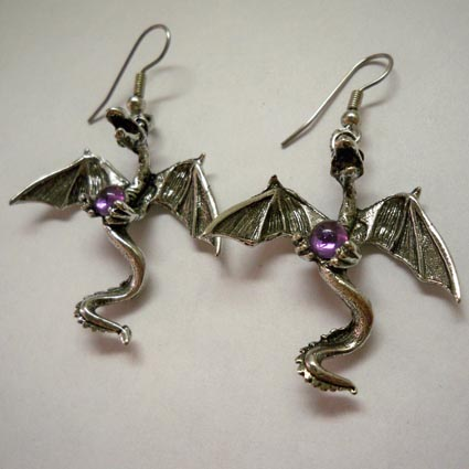 Dragon Earrings w Amethyst Orb