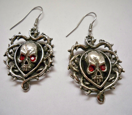 Skull in Vines w Red Eyes Earrings