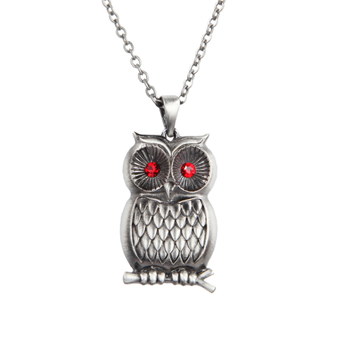 Owl Necklace w Red Eyes