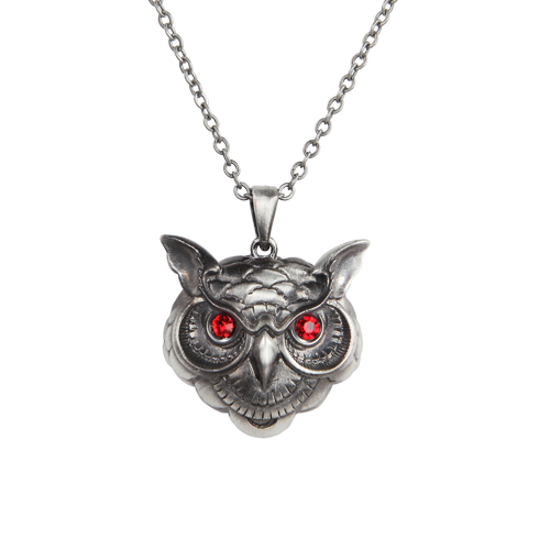 Owl Head Necklace w Red Eyes