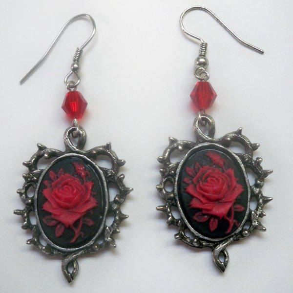 Red and Black Rose Cameo Earrings