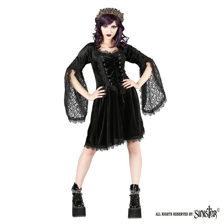 Sinister Gothic Plus Size Black Velvet Lace Bellsleeve Corset Mini