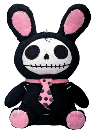 Small Black Bun Bun Furry Bones Skellies Plush Toy