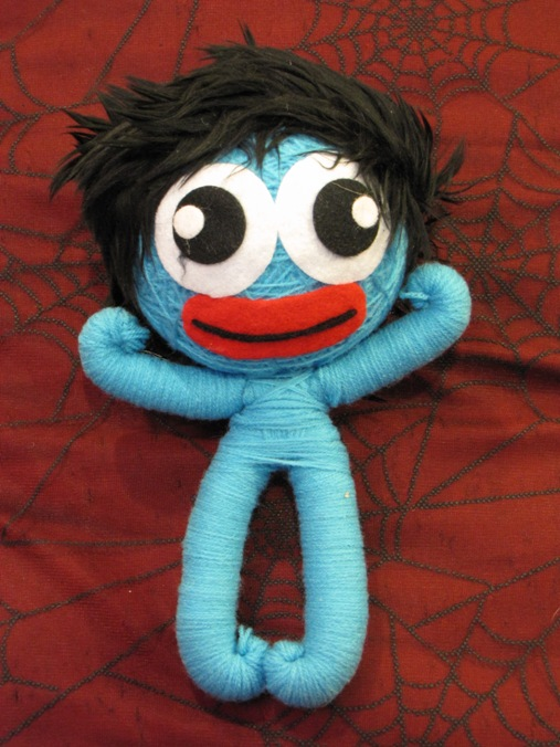 Blue Crazy Hair Man Large Voodoo Doll