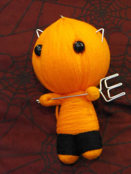 Orange Devil Cat Cutie w Pitchfork Large Voodoo Doll