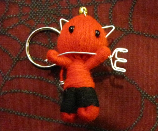 Red Devil Cat Cuties w Pitchfork & Bell Voodoo Keychain