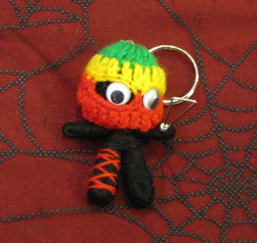 Crazy Black and Red Rasta with Knife Voodoo Keychain