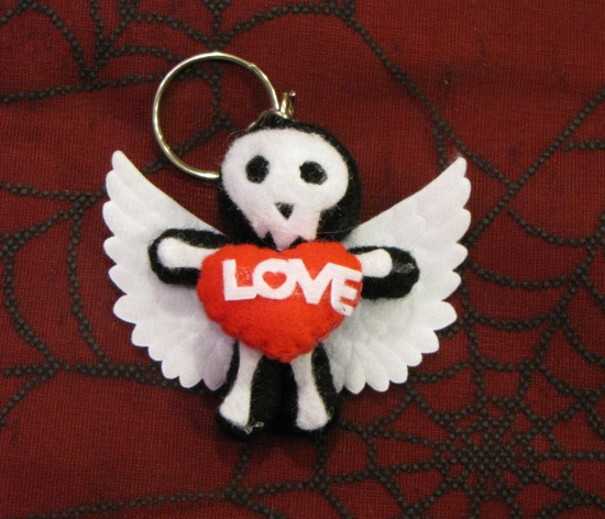 Black and White Love Skelly Angel Keychain