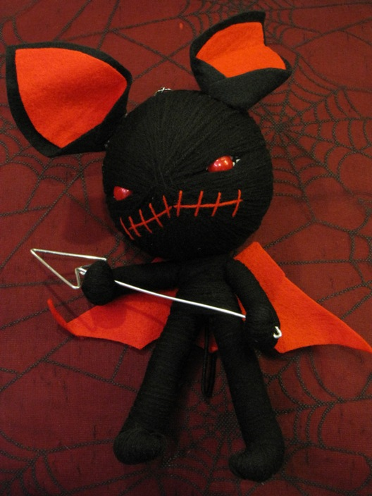 Black Gremlin Devil w Pitchfork & Wings Large Voodoo Doll