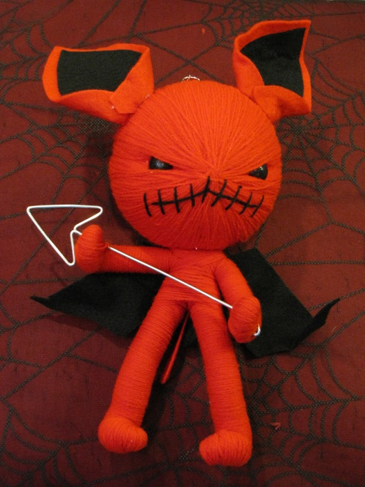 Red Gremlin Devil with Pitchfork and Wings Large Voodoo Doll