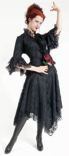 Eternal Love Black Gothic Kerchief Skirt Taffeta Lace