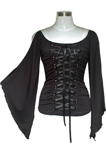 Black Stretchy Lace-Up Gothic Corset Jersey Top