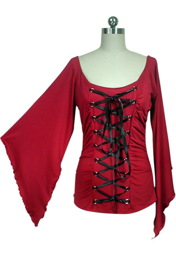 Red Stretchy Lace-Up Gothic Corset Jersey Top
