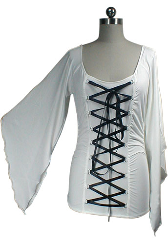 Plus Size White Stretchy Lace-Up Gothic Corset Jersey Top