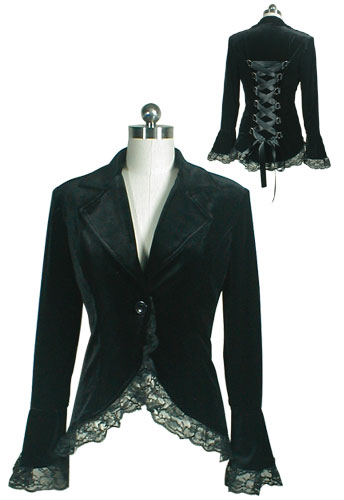 Plus Size Black Gothic Lace Trim Corset Velvet Jacket