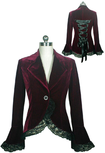 Plus Size Burgundy Gothic Lace Trim Corset Velvet Jacket