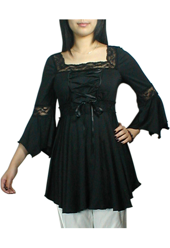 Black Lacing-Up Corset Lace Top Blouse