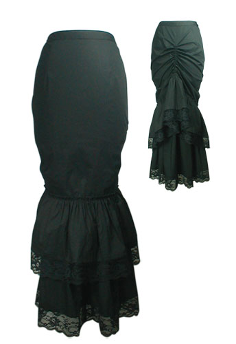 Plus Size Black Gothic Victorian Lace Long Skirt