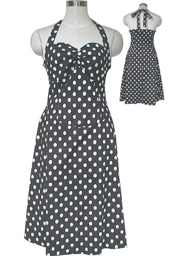 Plus Size Rockabilly Black and White Polka-Dot Halter Dress