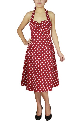 Plus Size Rockabilly Red and White Polka-Dot Halter Dress