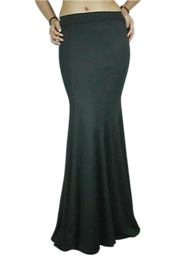 Plus-Size Black Low-Rise Long Flare Skirt