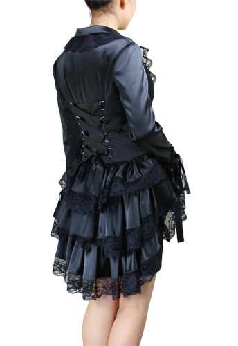 Plus-Size Victorian Gothic Punk Corset Black Satin Jacket