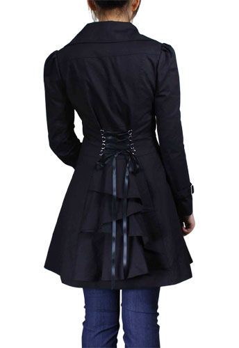 Plus Size Gothic Black Lace Up Ruffled Jacket