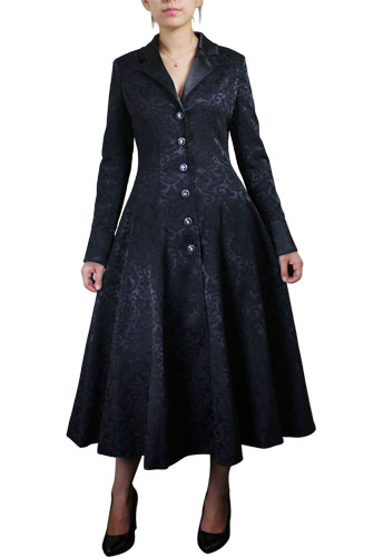 Plus Size Black Gothic Jacquard Long Coat