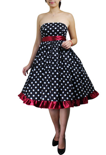 Plus Size Bowknot Polka Dot Red Rockabilly Gothic Pinup Dress
