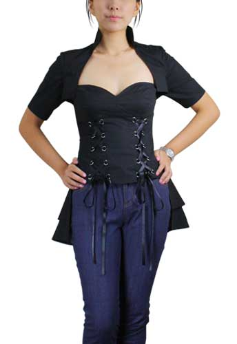 Plus Size Black Double Lace Up Corset Top
