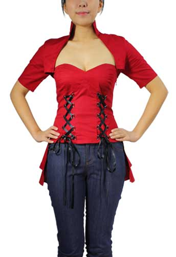 Plus Size Red Double Lace Up Corset Top