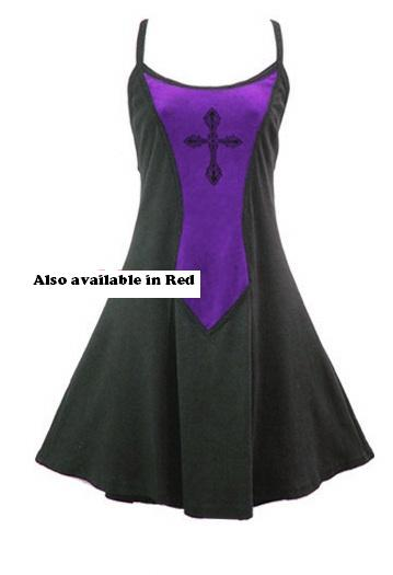 Dark Star Gothic Short Black Purple Mini Dress with Cross