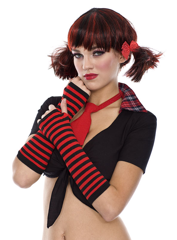 Red & Black Opaque Stripes Arm Warmers