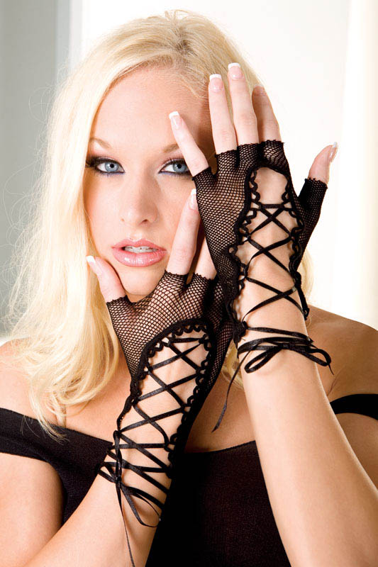 Black Gothic Fingerless Lace up FishNet Gloves