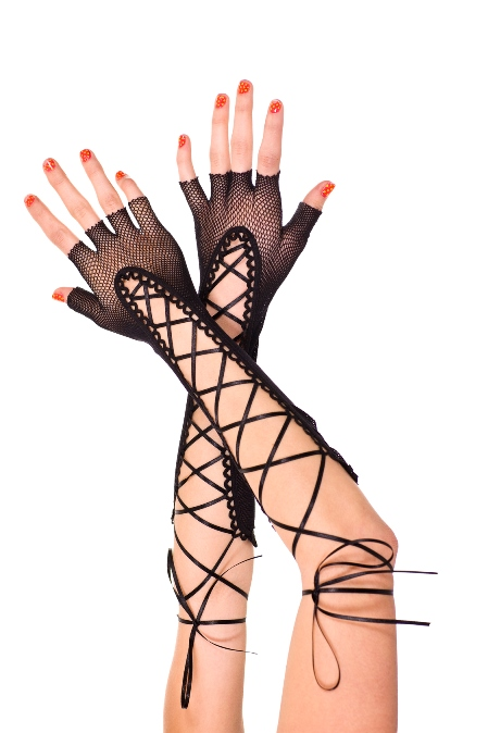 Fingerless Lace up Fishnet Elbow Length Warmer Black
