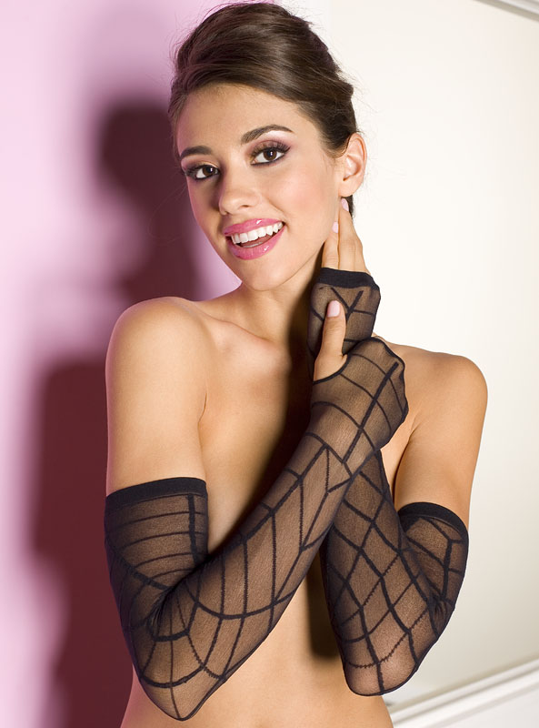 Black Sheer Spiderweb Long Gloves