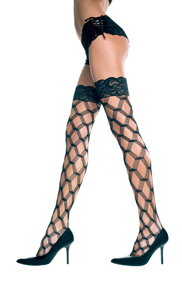 Plus Size Multi-Fishnet Thigh Hi