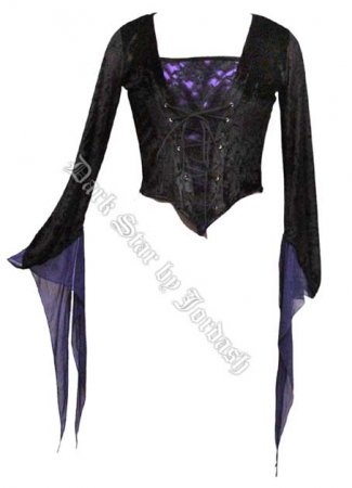 Dark Star Velvet Medieval Gothic Black Purple Corset Top