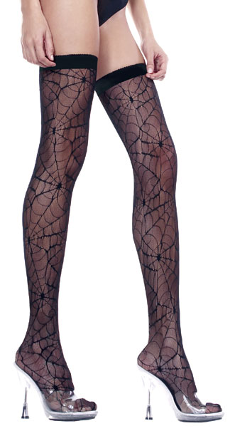Plus Size Spider Web Thigh Highs