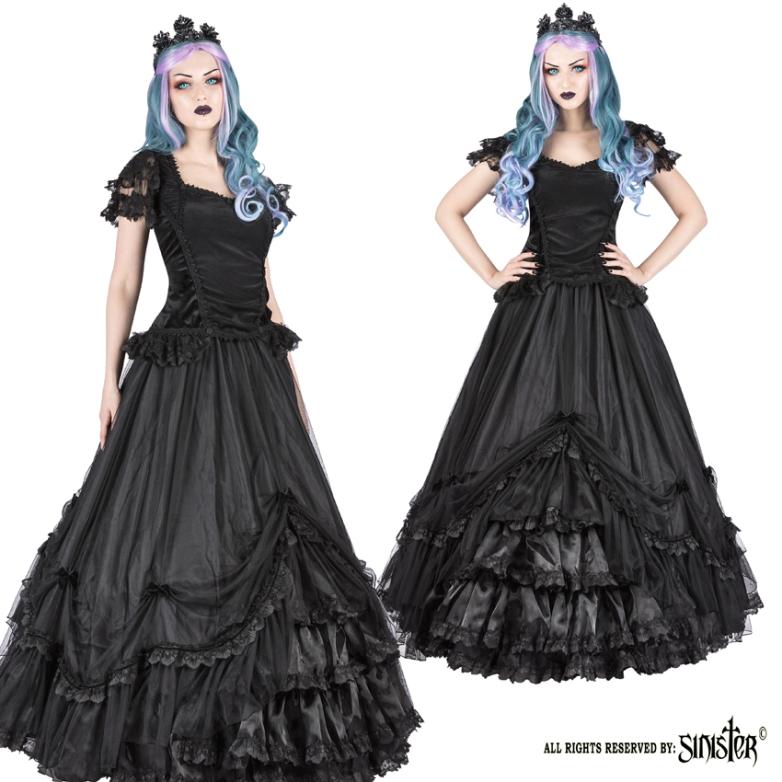 Sinister Gothic Plus Size Black Mesh Ruffled Lace & Satin Roses Long ...