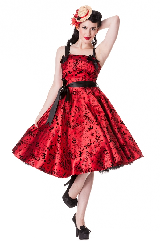 Hell Bunny Plus Size Gothic Red Tattoo Flock Rockabilly Dress