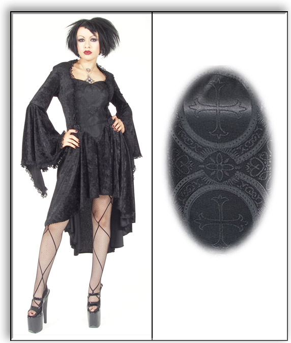 Eternal Love Black Goth Crucifix Roses Gwenhyfar Dress